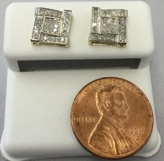 10K Yellow Gold Square Box Pattern Round White Diamond VS1 Earrings