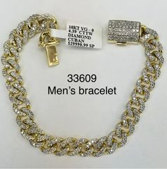 10k solid yellow gold VS1 diamond man bracelets