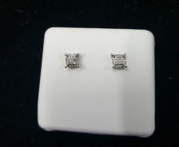 10KT WG Micro Pave Diamond Earrings