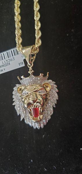 10KT Y GOLD LION NECKLACE