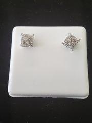 925 STERLING SILVER EARRING W/ REAL DIAMOND