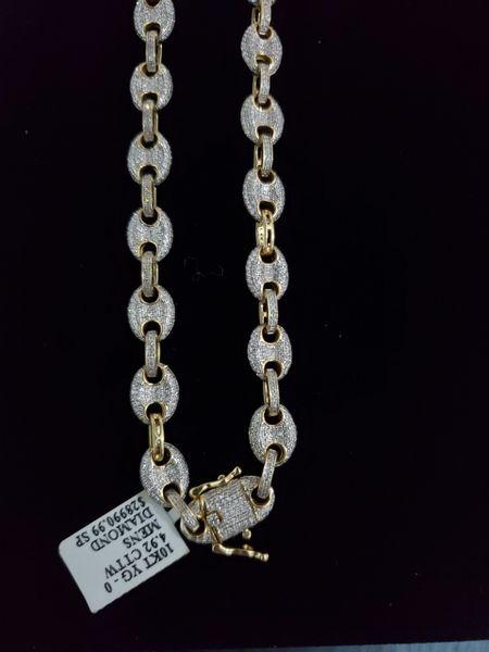 10KT Full Diamond Gucci Chain