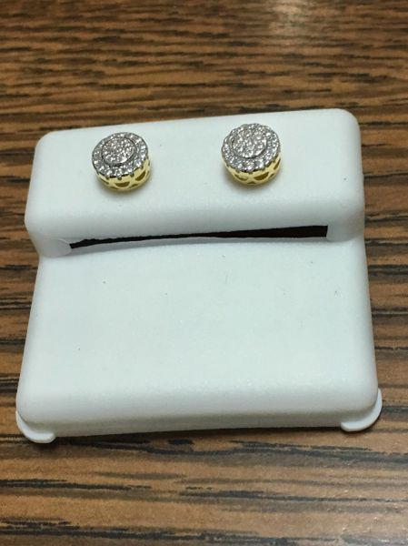 Sterling Silver Yellow Color, 64019, Screwback Earring
