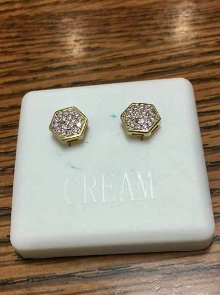 Sterling Silver Yellow Color, A520-07TT, Screwback Earring