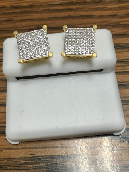 Sterling Silver Yellow Color, 76360, Screwback Earring