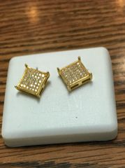 Sterling Silver Yellow Color,A0010-09G, Screwback Earring