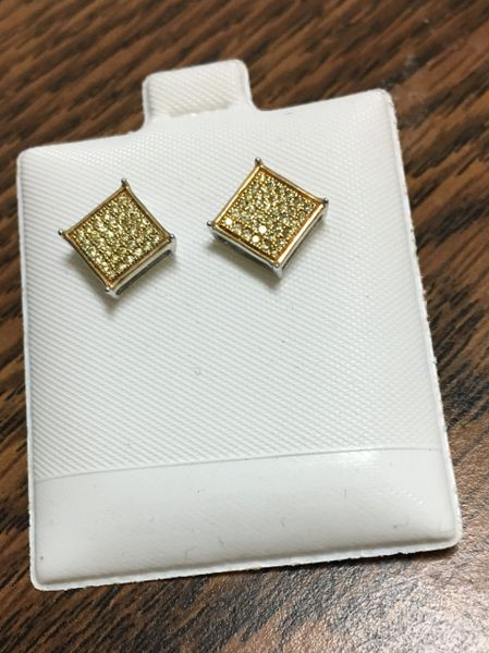 Sterling Silver Yellow Color, E1500, Screwback Earring