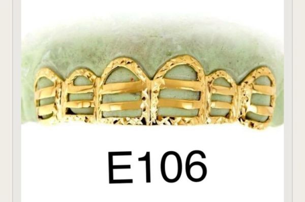 6 yellow gold - fence open face Gold Teeth