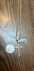 10KT Solid Yellow Gold Rope With Cross Charm,69143