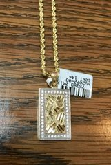 10KT Solid Yellow Gold Rope With Nugget Charm, 75389