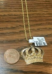 10KT Solid Yellow Gold Rope With Crown Charm, 74540