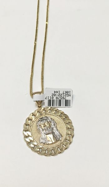 10KT Solid Yellow Gold Rope With Jesus Face Round Charm, 76578