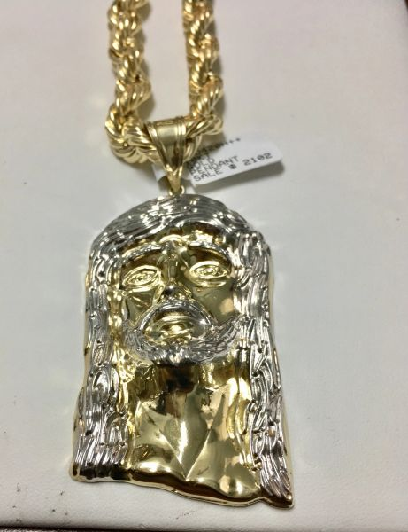 10KT Solid Yellow Gold Rope With Jesus Face Charm, 78040