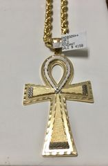 10KT Solid Yellow Gold Rope With Cross Charm, 76898