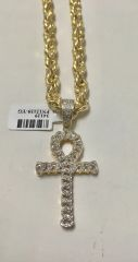 10KT Solid Yellow Gold Rope With 14KT Diamond Cross Charm, 34129