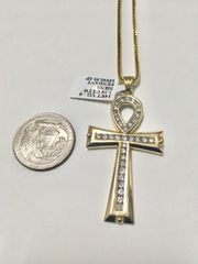 10KT Solid Yellow Gold Rope With Micro Pave VS1, 14KT Diamond Cross Charm, 32803