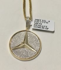 10KT Solid Yellow Gold Franco Chain With Micro Pave VS1 Mercedes Benz Charm, 34402