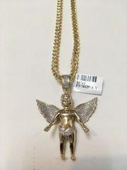 10KT Solid Yellow Gold Franco Chain With Angle Diamond Charm, 31712
