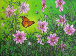 Original acrylic on canvas. A monarch butterfly with pink dahlia flowers.