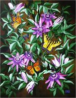 Greeting card monarch butterfly, eastern tiger Swallowtail, atala butterfly with passion flower