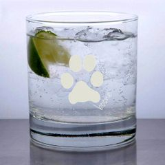 Libbey Rocks Glass 11oz - Custom Paw Print & Name