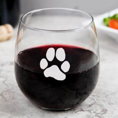 Libbey Stemless Wine Glasses - JL Paw Print