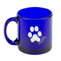 Cobalt Blue Coffee Mug - Custom Paw Print & Name