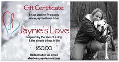 Jaynie's Love Gift Certificate