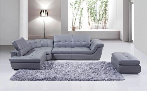 Incredible 397 Italian Leather Sectional In Grey 100 7000 Grade Real Leather Gmtry Best Dining Table And Chair Ideas Images Gmtryco