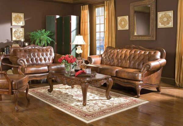 Victoria 500681 WARM BROWN CLASSIC LEATHER LIVING ROOM SOFA by Coaster