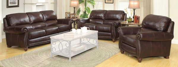 Coaster LOCKHART BROWN LEATHER TRADITIONAL LIVING ROOM SOFA
