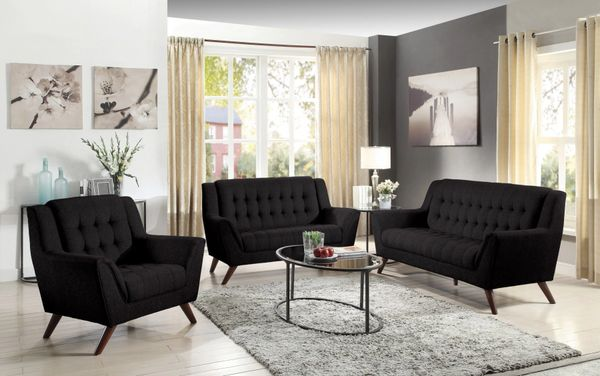 Marvelous Baby Natalia Black 3 Pcs Sofa Set Sofa Only Gmtry Best Dining Table And Chair Ideas Images Gmtryco