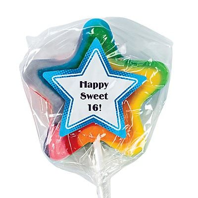 Sweet 16 Star Shaped Swirl Lollipop - ADD TO CANDY BEAR BOUQUET