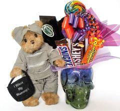 Halloween Candy Bear Bouquet Morty Mummy w/ Glass Skull
