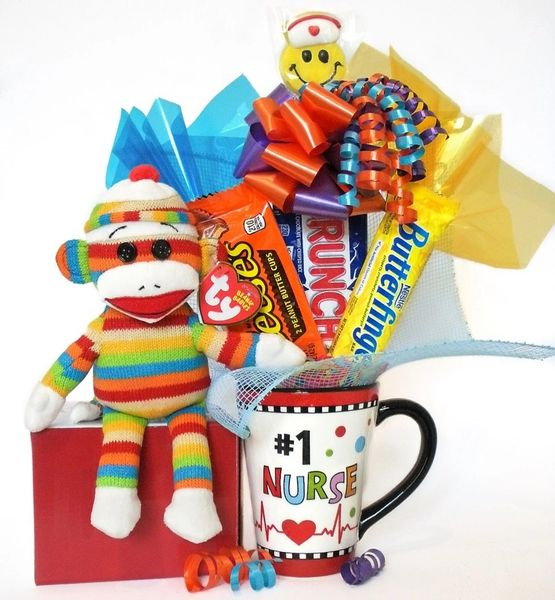 Nurse Candy Bear Bouquet Socks Stripes Sock Monkey w/ Hand Painted/Embossed Mug