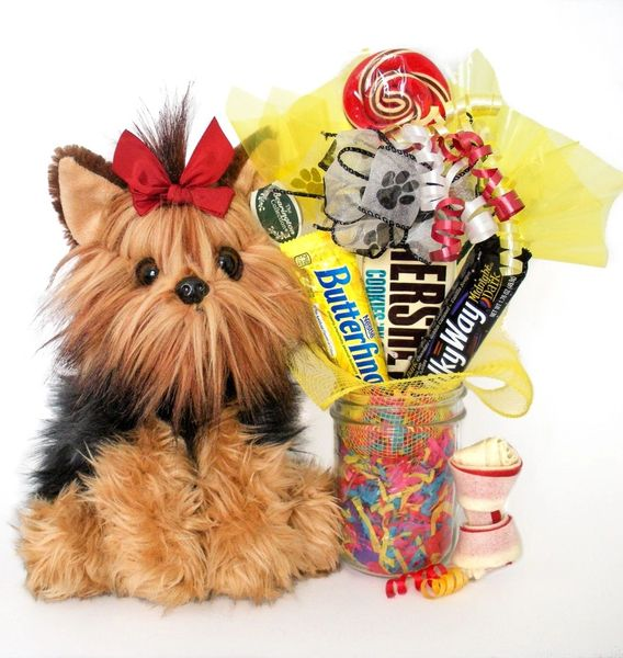 Dog Candy Bear Bouquet Chewie the Yorkie