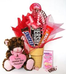 Valentine's Day, Anniversary, Love Candy Bear Bouquet You're Sweeter Than Chocolate