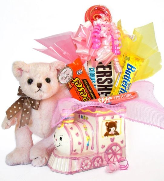 Baby Girl Candy Bear Bouquet Dottie