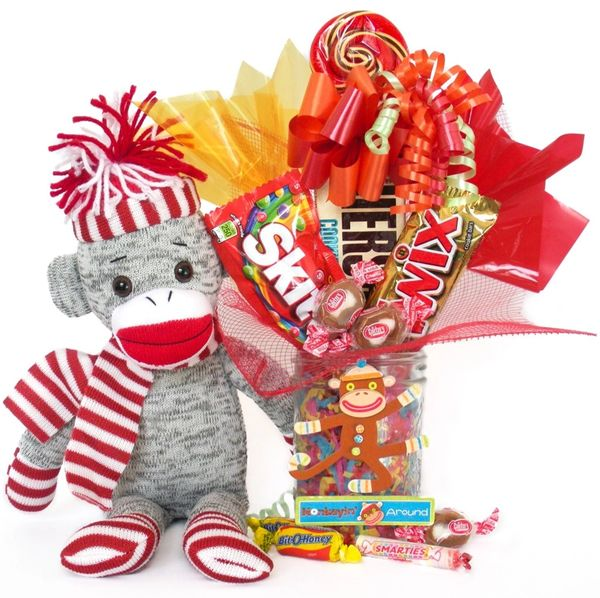 Sock Monkey Candy Bear Bouquet Socks