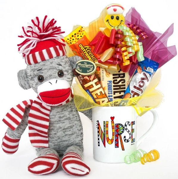Nurse Candy Bear Bouquet Socks Sock Monkey w/ Porcelain Messaged Mug