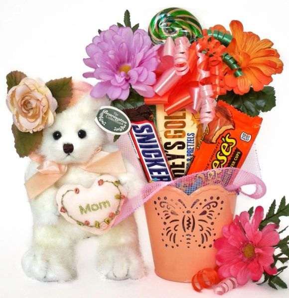 Mother's Day | Grandparents Day Candy Bear Bouquet Mommy Tenderheart w/ Embossed Butterfly Pot