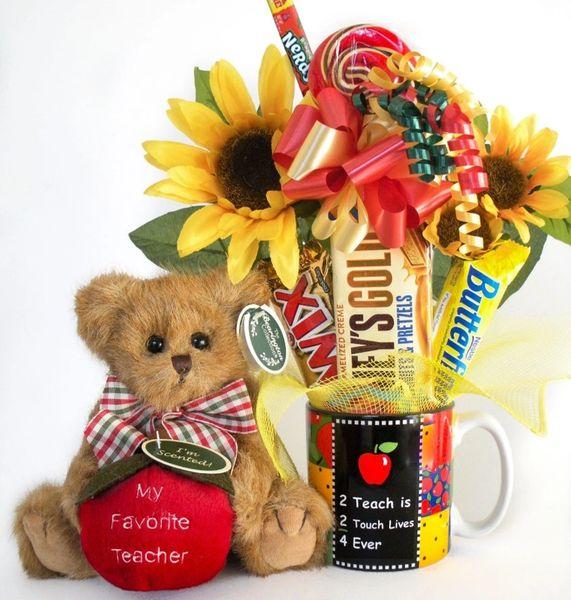 Teacher Candy Bear Bouquet Beary Best Teacher w/ 2 Teach Mug