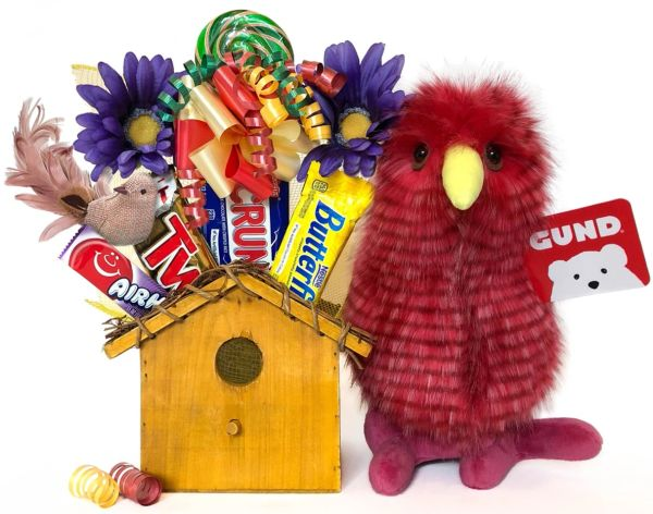 Bird Candy Bear Bouquet Kilowatt Pink w/ Wood Bird House