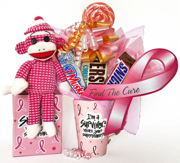 Breast Cancer Candy Bear Bouquet Survivor Sock Monkey Ty Pink Quilted Socks