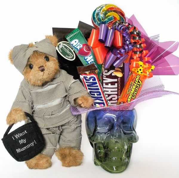 Halloween Candy Bear Bouquet Morty Mummy w/ Glass Skull