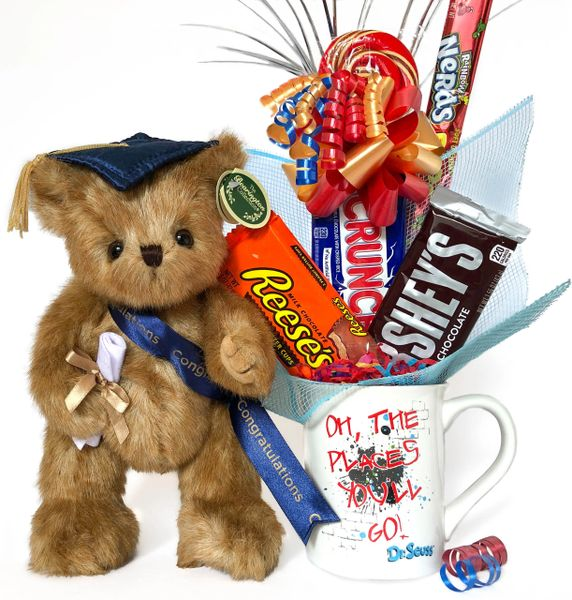 "Graduation Candy Bear Bouquet Smarty Bear w/ Dr. Seuss™ ""Oh The Places You'll Go"" Stoneware Mug"