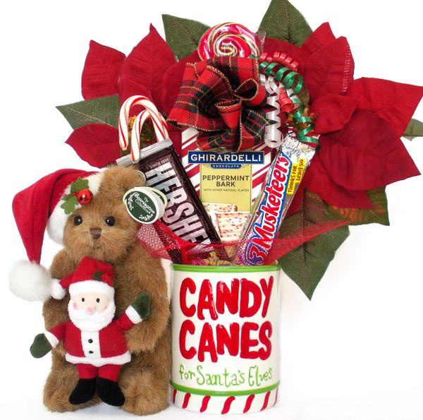 Christmas Candy Bear Bouquet Santa and Claus w/ Hand Painted/Raised Ceramic Candy Jar