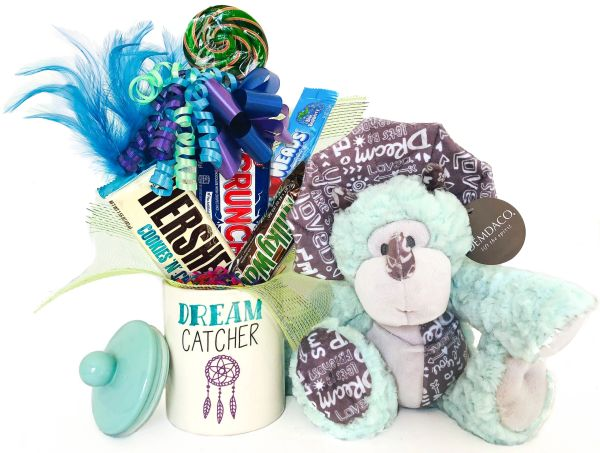 Dinosaur Candy Bear Bouquet Spikes Dinosaur w/ Dreamcatcher Stoneware Jar