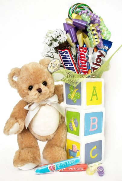 Baby Candy Bear Bouquet Lil Teddy w/ Ceramic ABC Vase