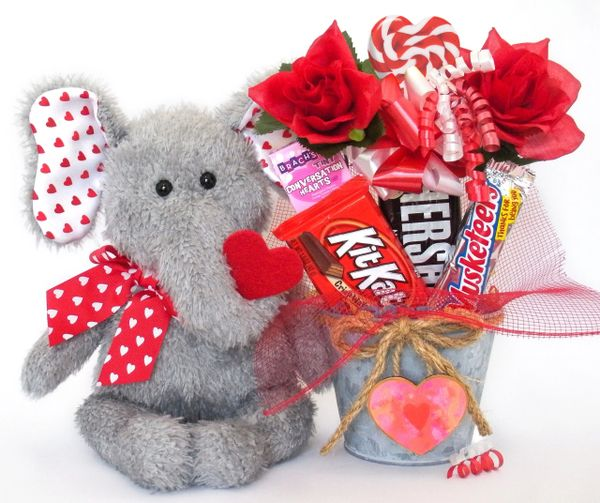 Valentine's, Anniversary Candy Bear Bouquet Hugh Loves You Elephant